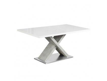 Jídelní stůl, bílá s vysokým leskem HG / beton, FARNEL