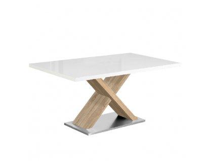 Jídelní stůl, bílá s vysokým leskem HG / dub sonoma, FARNEL