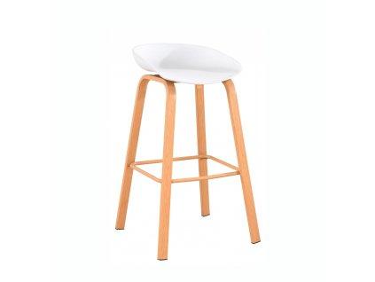 Barová židle, bílá/přírodní, BRAGA