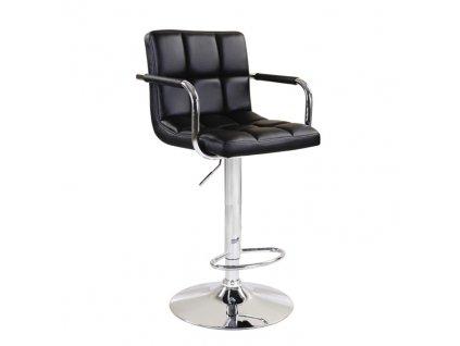 Barová židle, černá ekokůže / chrom, Leora 2 NEW