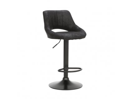 Barová židle, černá látka s efektem broušené kůže, LORASA