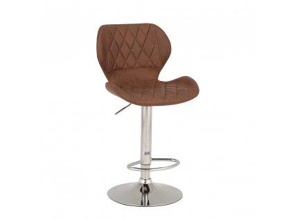 Barová židle, hnědá látka/chrom, SOFALA