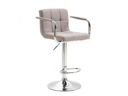 Barová židle, šedohnědá taupe látka / chrom, LEORA 2 NEW