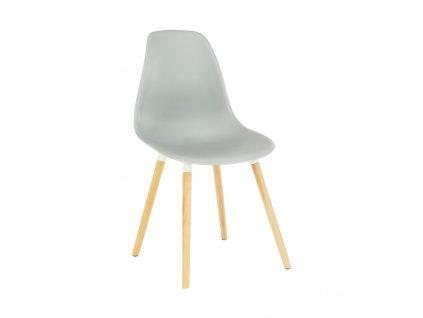 Židle, studená šedá plast / buk, KALISA