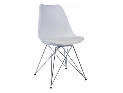 Židle, bílá + chrom, METAL NEW