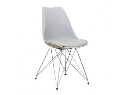 Židle, studená šedá + chrom, METAL NEW