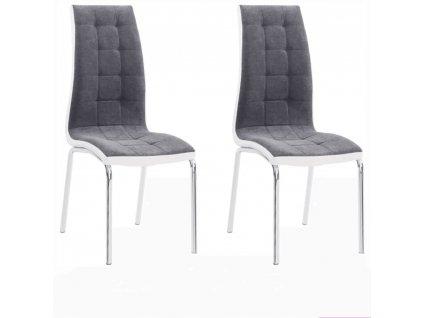2 kusy, Jídelní židle, tmavě šedá / bílá, GERDA NEW
