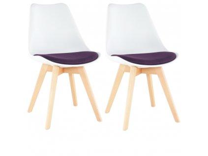 2 kusy, Židle, bílá / fialová, DAMARA