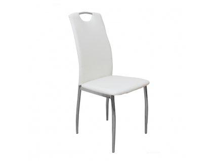 Jídelní židle, ekokůže bílá / chrom, ERVINA