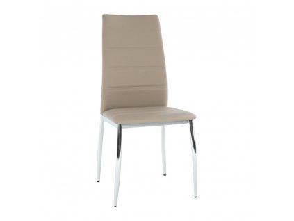 Jídelní židle, ekokůže hnědá / chrom, DELA