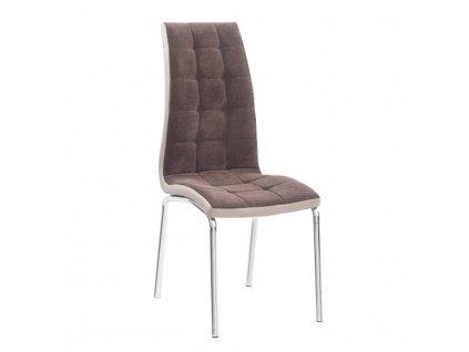 Jídelní židle, hnědá / béžová / chrom, GERDA NEW