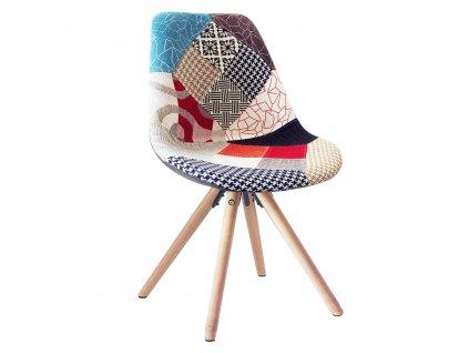 Jídelní židle, patchwork barevná, GLORIA