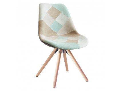 Jídelní židle, patchwork mentol/hnědá, GLORIA