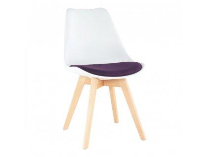 Židle, bílá / fialová, DAMARA