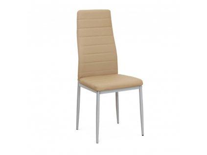 Židle, ekokůže béžová / kov stříbrná, COLETA NOVA