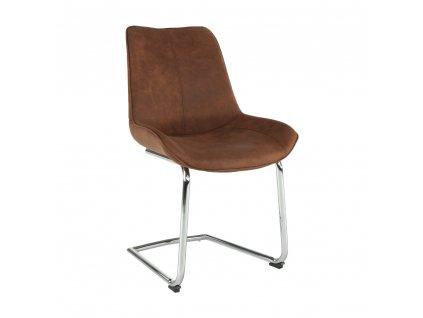 Židle, hnědá látka / chrom, NADINA