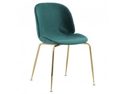 Židle, zelená/gold chrom-zlatá, PORTIA