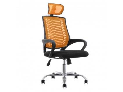 Kancelářské křeslo, oranžová / černá / chrom, IMELA TYP 1