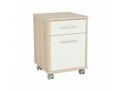 Kancelářský kontejner, dub sonoma / bílá, JOHAN NEW 07