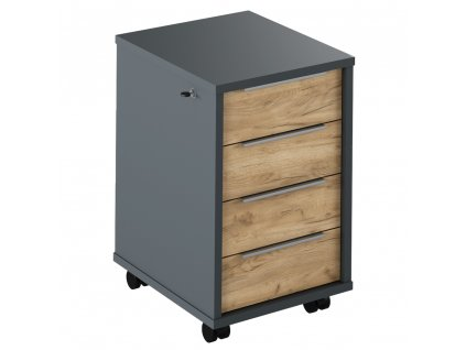 Kontejner se zámkem, grafit/dub artisan, RIOMA TYP 30