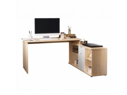 Kancelářský stůl, dub sonoma/bílá, DALTON 2 NEW