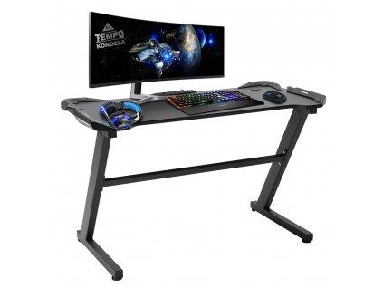 PC stůl / herní stůl, černá, Jadis
