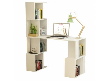 PC stůl s regálem, bílá, FLOKI NEW