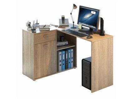 Rohový PC stůl, dub sonoma, KALIMERO
