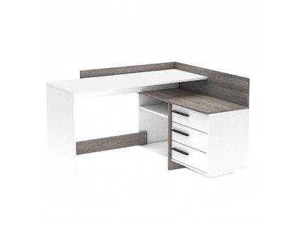 Univerzální PC stůl, rohový, bílá / dub trufel prata, TALE NEW
