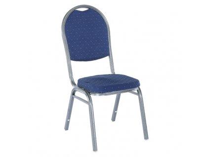 Židle, stohovatelná, látka modrá/šedý rám, JEFF 2 NEW