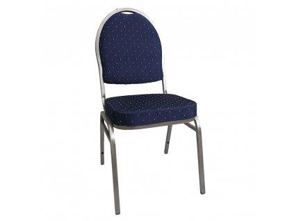 Židle, stohovatelná, látka modrá/šedý rám, JEFF 3 NEW