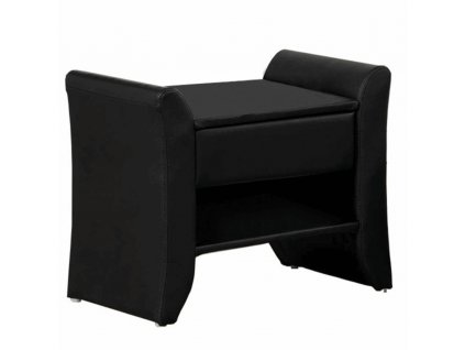 Noční stolek, černá ekokůže, BOLTON