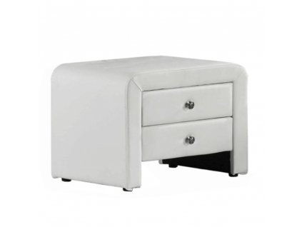 Noční stolek, ekokůže, bílá, WILSON