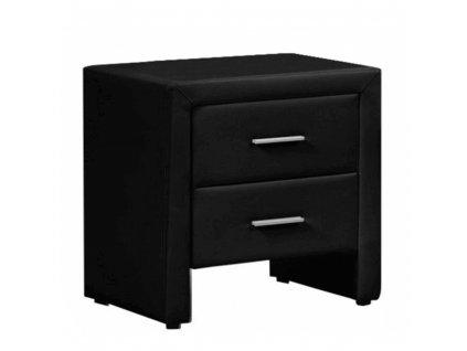 Noční stolek, ekokůže, černá, CASTEL