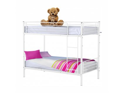 Kovová patrová rozložitelná postel, bílá, 90x200, Jamila