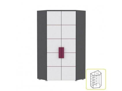 Skříň rohová kombinovaná, šedá / bílá / fialová, LOBETE 89