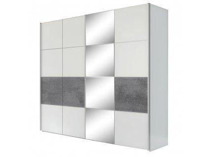 Skříň s posuvnými dveřmi, šedá / matná bílá, PUNO