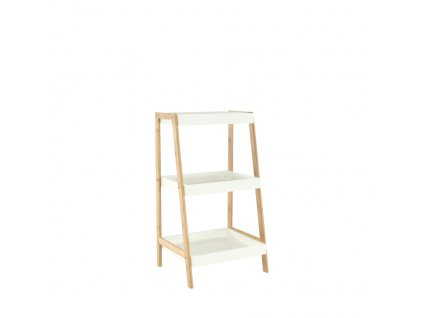 Regál, bambus lakovaný / bílá, REGO 1