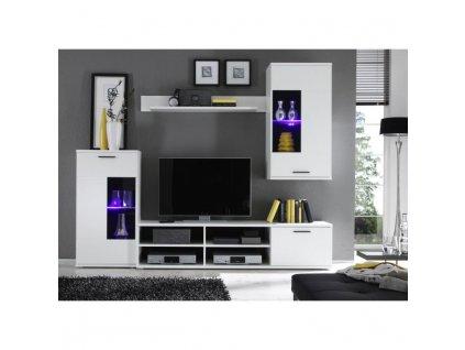 Obývací stěna, bílá, FRONTAL 1
