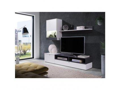 Obývací stěna, bílá/sosna tmavá, ROSO