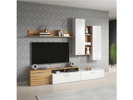 Obývací stěna, dub grandson/bílá, EVORA