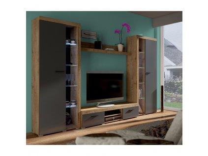 Obývací stěna, dub lefkas/grafit, NESEBAR XL