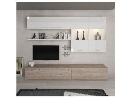 Obývací stěna, MDF / DTD laminovaná, dub nelson / bílý HG, SOFI