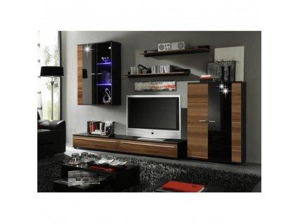 Obývací stěna, s LED osvětlením, švestka/černá extra vysoký lesk HG, CANES NEW