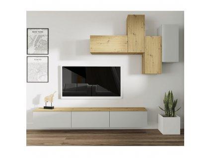 Obývací stěna, světlešedá/dub artisan, OTEN