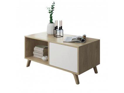 Konferenční stolek, dub puccini/bílá, LAND