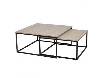 Set dvou konferenčních stolků, dub sonoma / černá, Kastler TYP 1