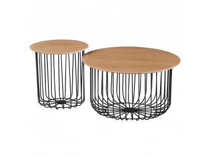 Set dvou konferenčních stolků, dub/černá, GROTO