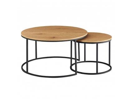Set dvou konferenčních stolků, dub/černý, IKLIN