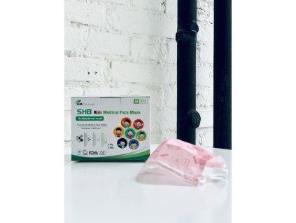Růžová - SHB dětské roušky na obličej 3-vrstvé CE, FDA - 50ks